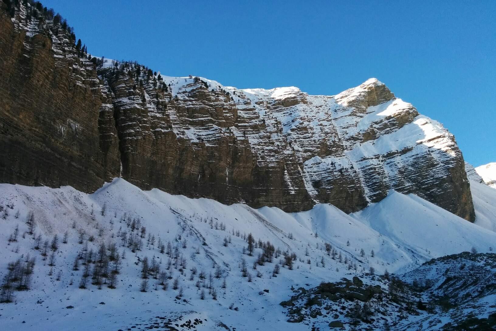 Vallon ou se situe la voie sans peur et sans ces pioches avec un guide de haute montagne