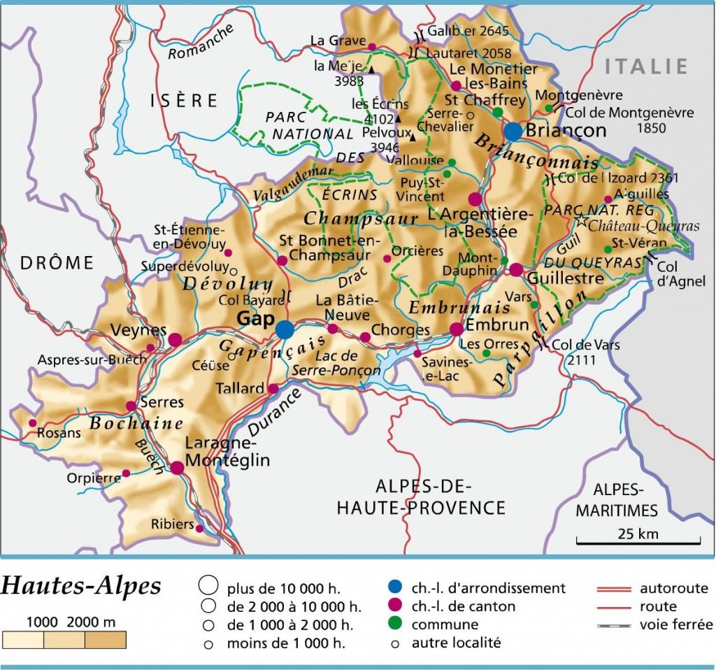 Carte géographique des hautes alpes